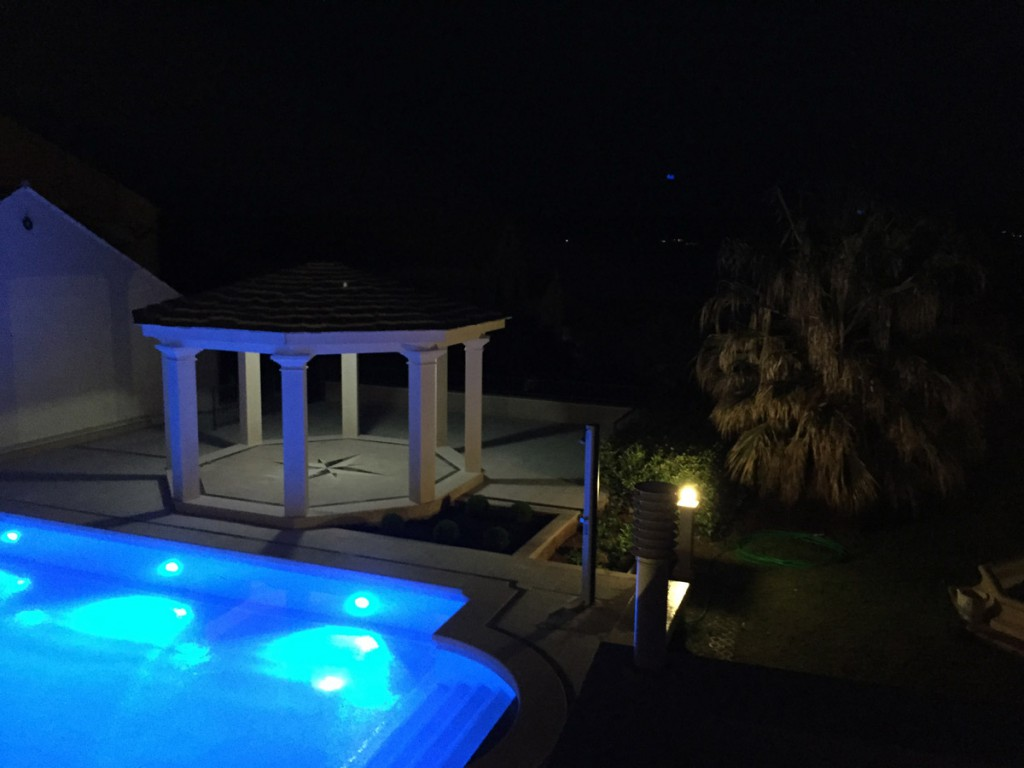 Amazing Villa Jadranka swimming pool during the night. Swimming pool view.