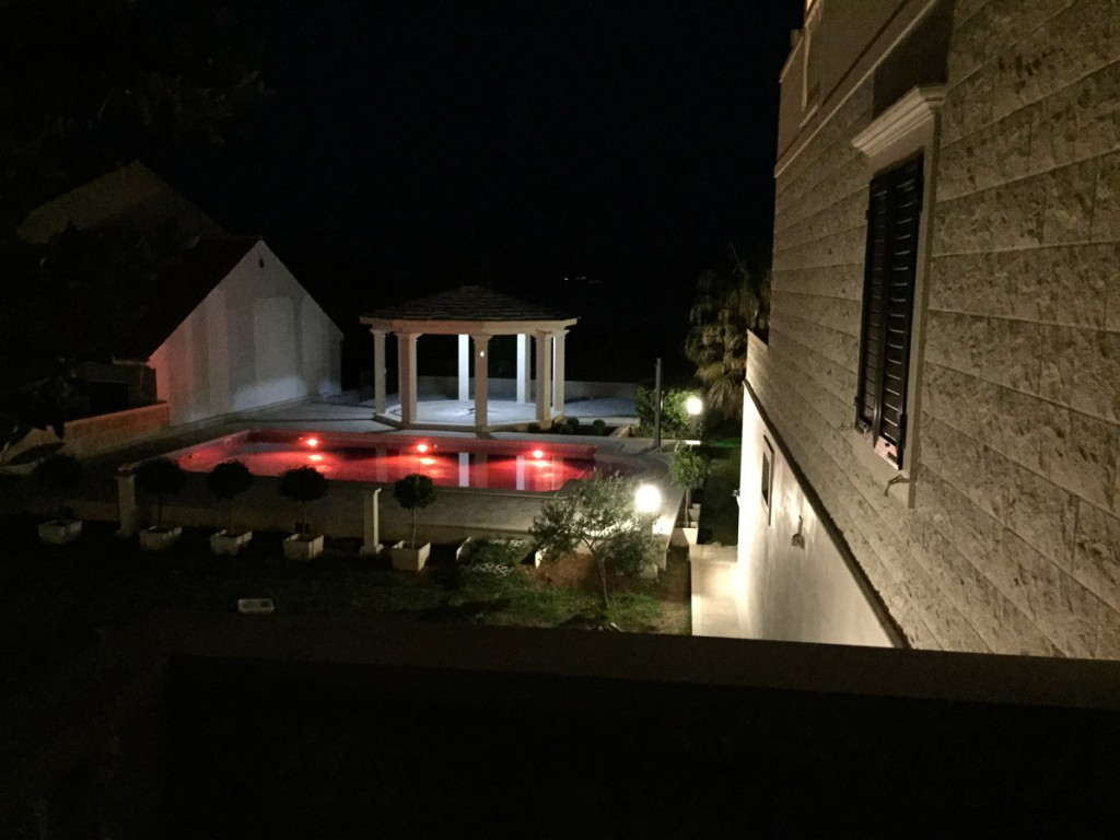 Amazing Villa Jadranka swimming pool during the night. Swimming pool view.